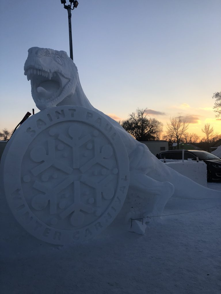 A T-Rex carved out of snow   Her Life in Ruins