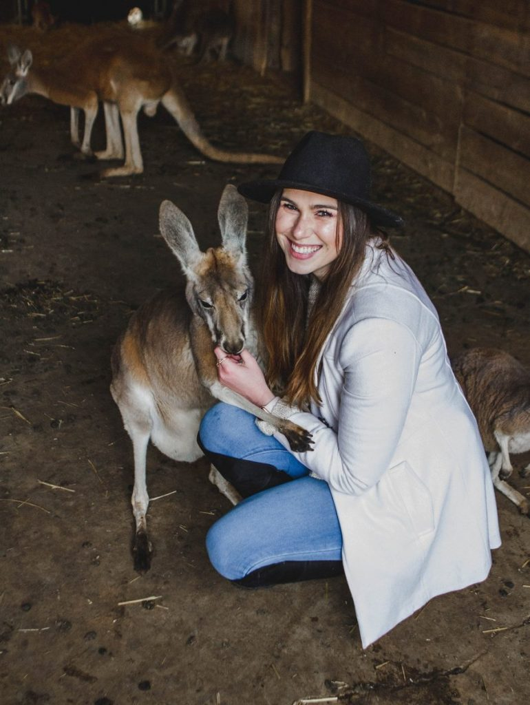 Her Life in Ruins | An Adventure at Kentucky Down Under - Hugging Amelia the Kangaroo