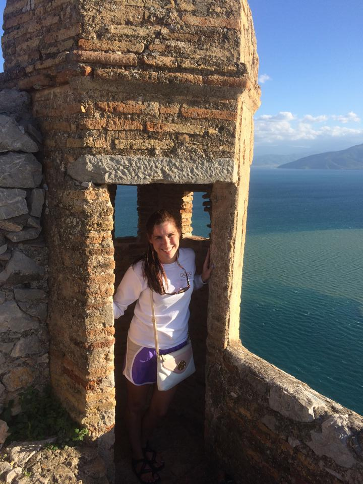Posing in a lookout at Palamidi Fortress