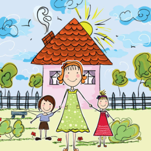 Mom, Kids, House, clipart