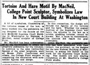 Published on Hermon Atkins MacNeil's 67th Birthday - Ferbuary 27, 1933 - In the Brooklyn Daily Star - Front Page One, Columns 6 & 7.