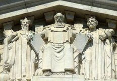 MacNeil's sculptures of Moses, Confucius, and Solon on the East Pediment of the Supreme Court Building in Washington, D.C.