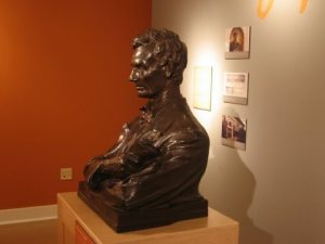 A visit to Illinois last week included a stop at the Abe Lincoln bust at Spurlock Museum  at U of I.  The sculpture will no longer be viewable in-the-round after being returned to its permanent home in the sparklingly-restored Lincoln Hall on campus.