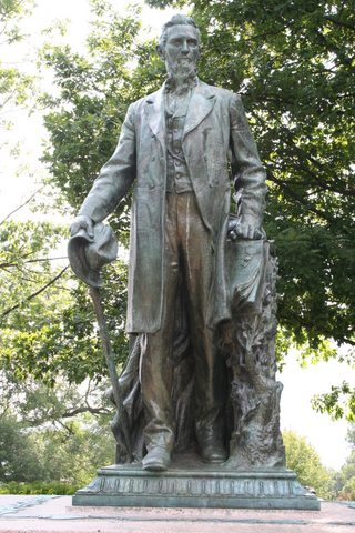 "MacNeil's said of this statue, ""When I began to work on that, my heart fairly leaped within me. Mr. Cornell, I discovered, looked like my own father! … And so throughout it was a labor of love; it almost worked itself out."" [ J. Walker Mc Spadden, Famous Sculptors of America, pp. 319-320. ]"