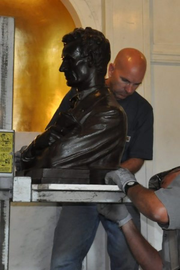 MacNeil's restored bust of young Abe Lincoln was bolted to a marble plate that could be cemented into place.