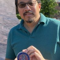 Roger Bow with his MacNeil Medallion at the Flushing Memorial (8-23-2020)