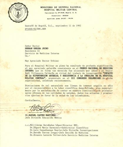 Premio Nacional de Medicina, Hernán Urbina Joiro, 1992