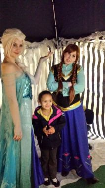 With Elsa and Anna from Frozen