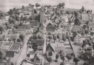 Modell des alten Dorfes Herne mit der St. Dionysiuskirche als Mittelpunkt, Foto Stadtarchiv Herne