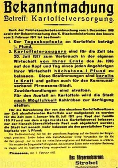 Bekanntmachung über Kartoffelrationierung, Pirmasens, Februar 1917, Repro Norbert Kozicki