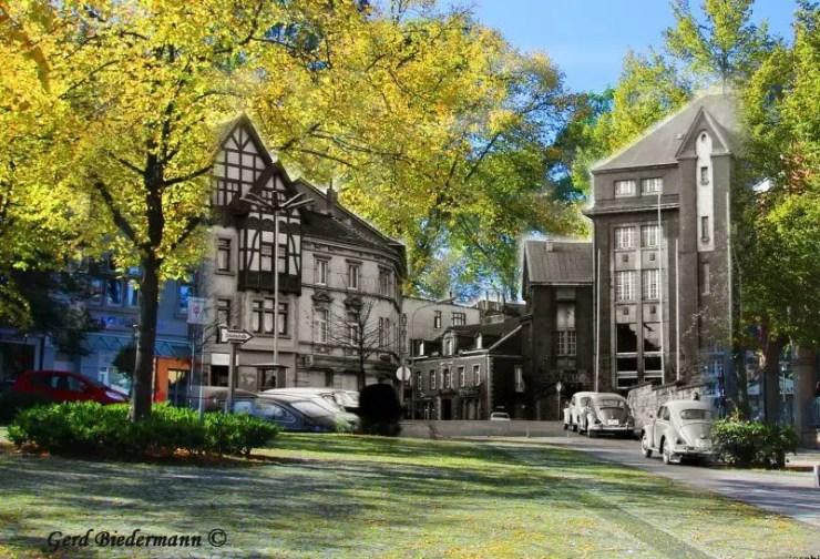 Eickeler Markt damals und heute, Fotomontage Gerd Biedermann