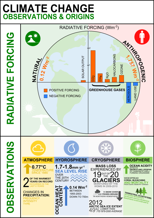 Climate change infographic - observations and origins: Infographic