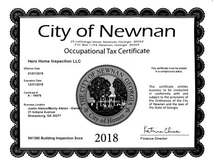 Business License 2018 HHI