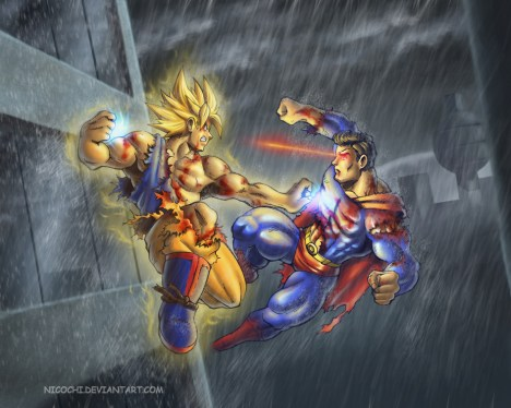 Goku vs Superman na chuva
