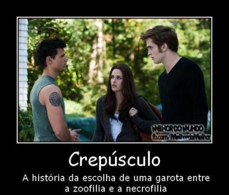 necrofilia ou zoofilia em Crepusculo Bella Swan, Edward Cullen e o lobisomem