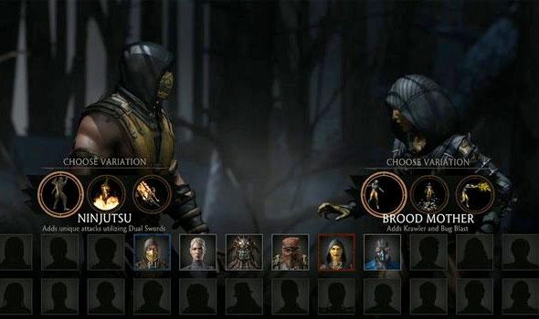 Mortal Kombat X tela de seleção de personagens