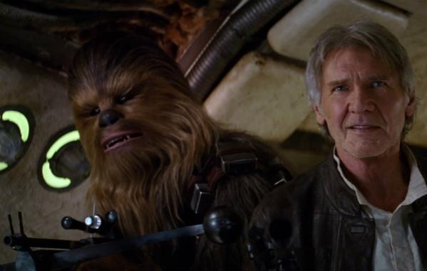 Han Solo vellho e Chewbacca star wars episodio 7