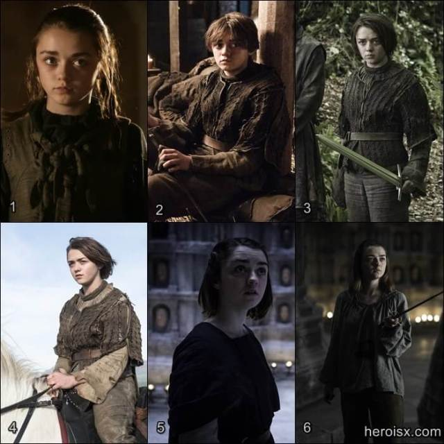 Arya Stark Temporadas 1 a 6 Game of Thrones antes e depois