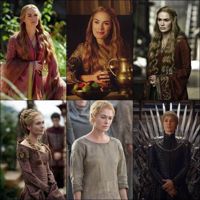 Cersei Lannister Temporadas 1 a 6 Game of Thrones antes e depois