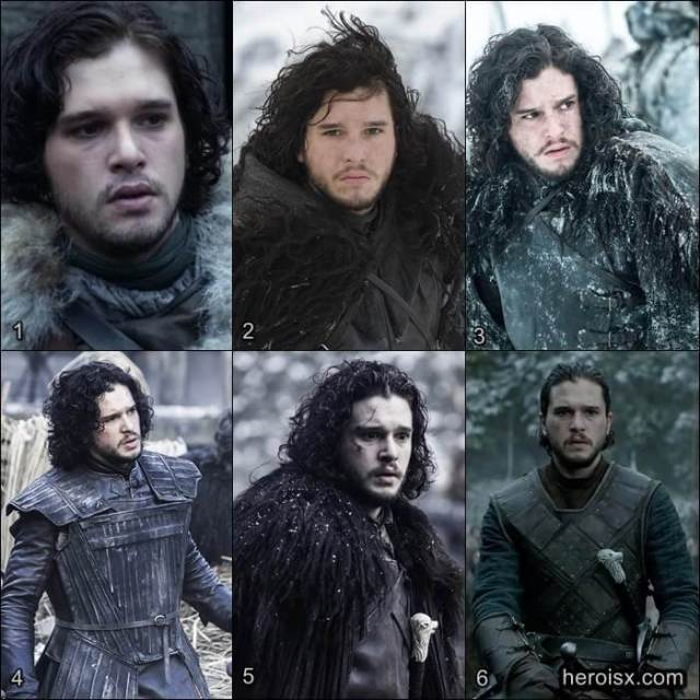 Jon Snow Temporadas 1 a 6 Game of Thrones antes e depois
