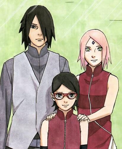 Sasuke Sakura e Sarada Uchiha Casais de Naruto