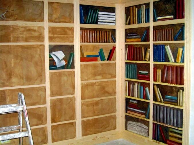 Bücherregal im Restaurant Zum Sielkrug (Entstehungsphase)