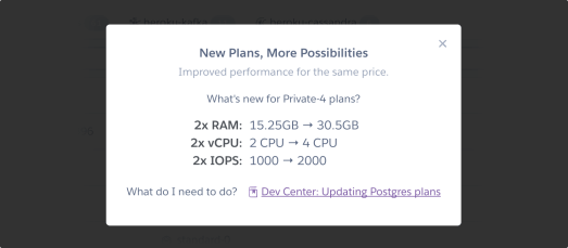 New Plans, More Possibilities dialog window
