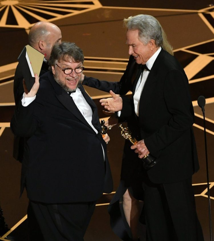 Guillermo del Toro winning best picture Oscar for The Shape of Water