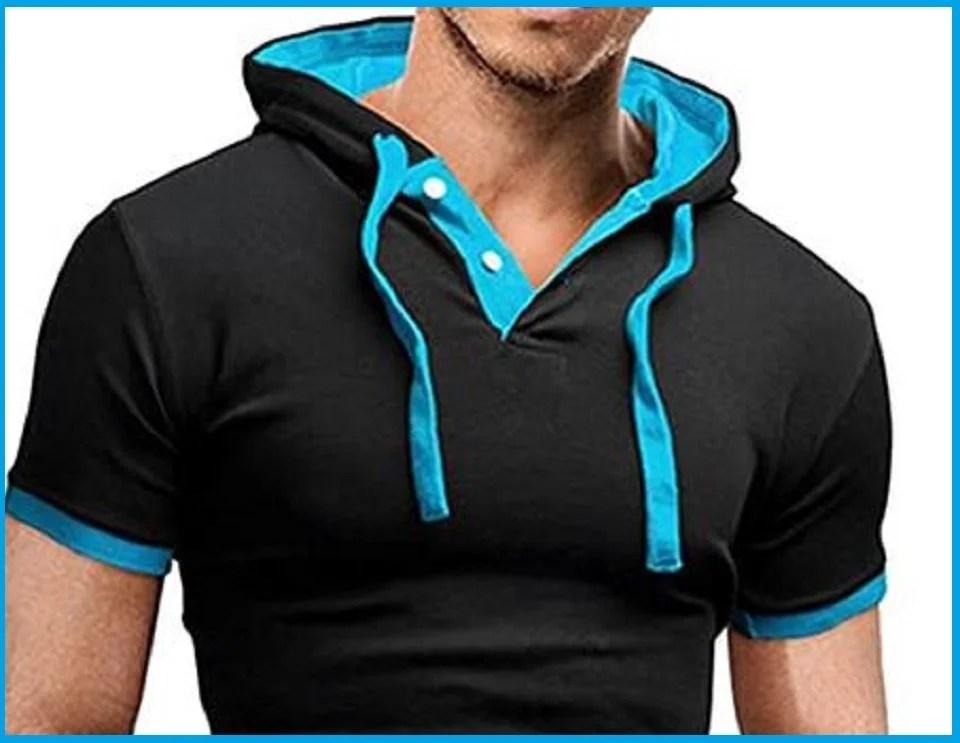 t-shirt à capuche, le hoodie manches courtes de l'homme stylé