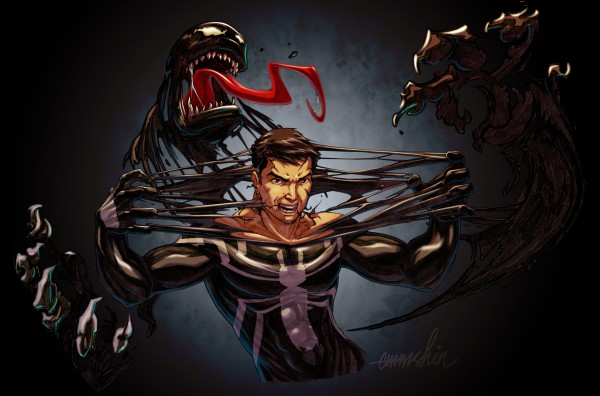 Eddie Brock and venom merging