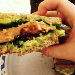 Whole Foods Dinner: Salmon, Guacamole, Bacon & Arugula Sandwiches