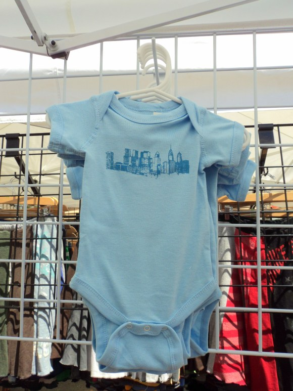 Spruce Avenue Design & Illustration Philly skiyline onesie at the East Passyunk Avenue Crafty Balboa Craft Fair / Her Philly