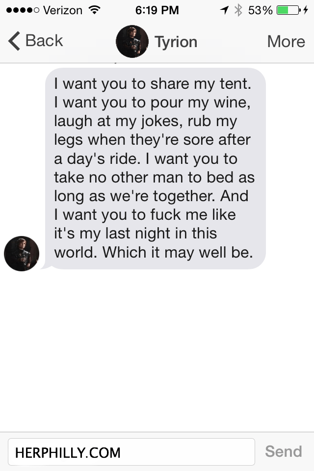 Tyrion Lannister on TInder // Her Philly