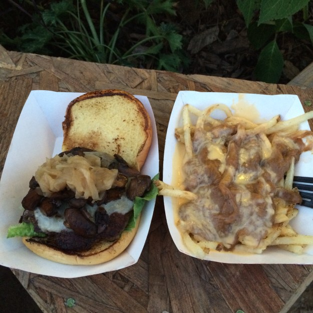 Garces mushroom burget and short rib and cheddar french fries at Spruce Street Harbor Park // Her Philly