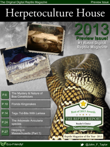 Free Issue of Herpetoculture House