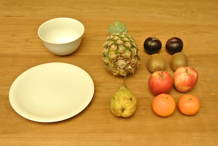 Tafelaufsatz mit Obst, die Bestandteile