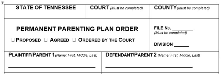 Parenting Agreement Template | Tennessee S New Permanent Parenting Plan Forms Herston On