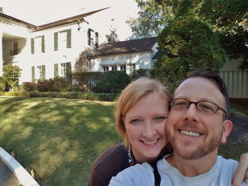 My wife and me outside Graceland