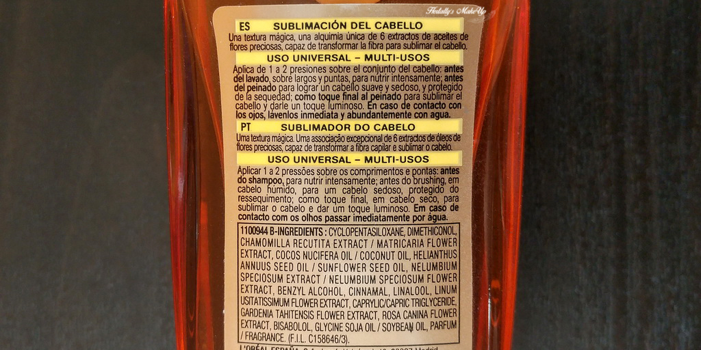 Review opinion Aceite extraordinario Elvive ingredientes INCI