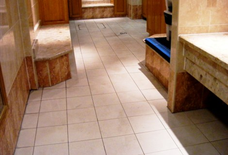 Health Club Porcelain floor tiles after cleaning