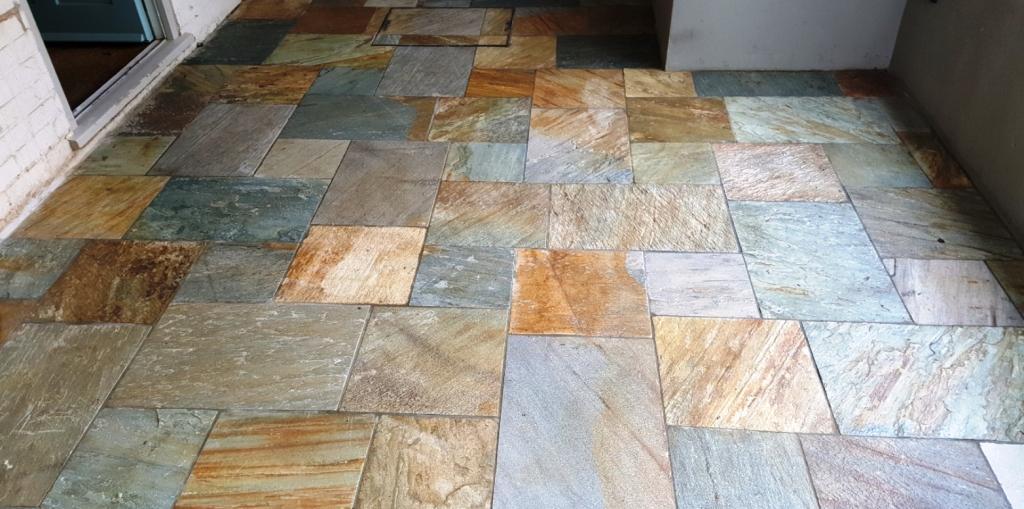 lacklustre multi coloured slate tiled
