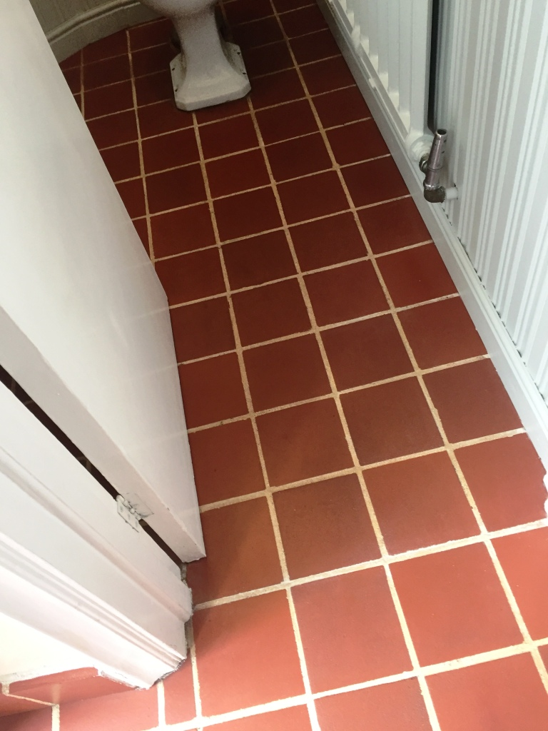 Quarry Tiled Entrance Lobby Restoration Hitchin After Cleaning