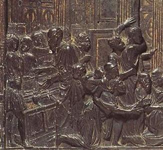 """Der Heilige Antonius vor der Leiche des Geizhalses (in der Mitte die Öffnung der Leiche mit dem Heiligen,  links die Truhe mit dem Herzen). Bronzerelief am Hochaltar des """"Santo"""" in Padua von Donatello"""