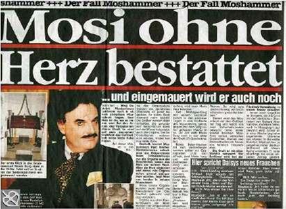 """Mosi ohne Herz bestattet. Schlagzeile der """"Bild""""-Zeitung vom 27.1.05"""