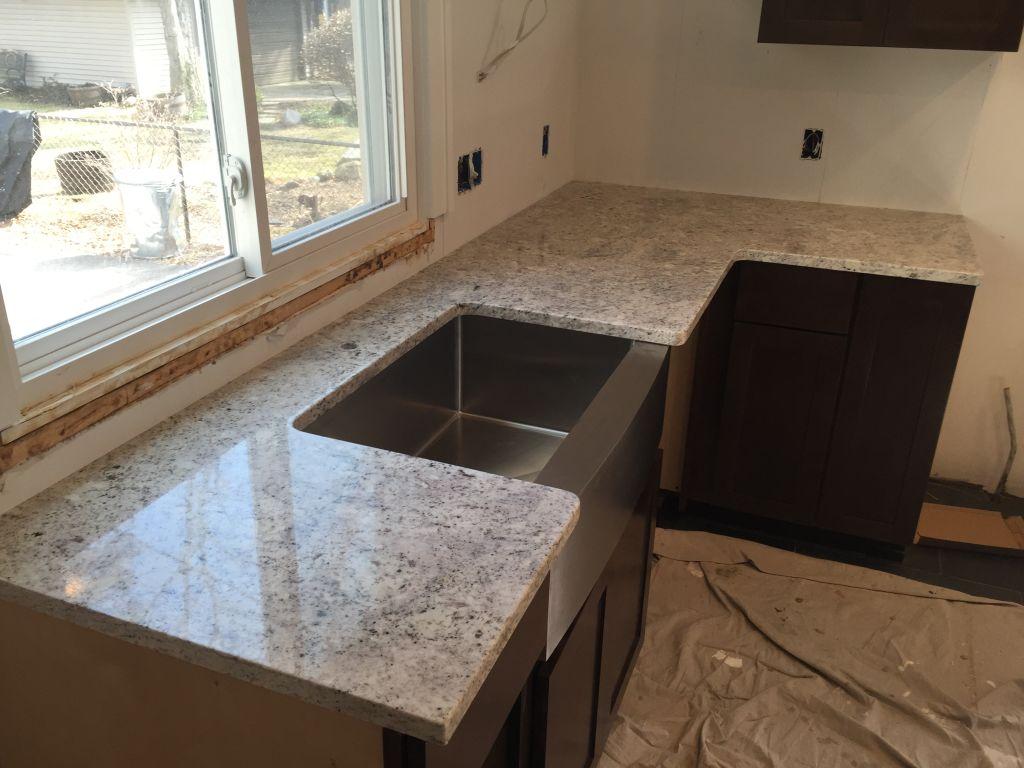 Salina White Granite Countertops With Farm Sink - Hesano ... on Farmhouse Granite Countertops  id=13676