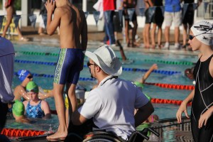 Watchful eye over his young athletes warming up at SA Level 2 Champs