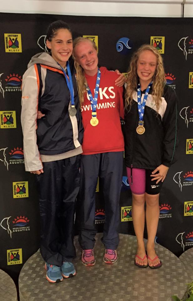 Rebecca Meder and Trisha Pollicutte with me on the podium for 50 Fly