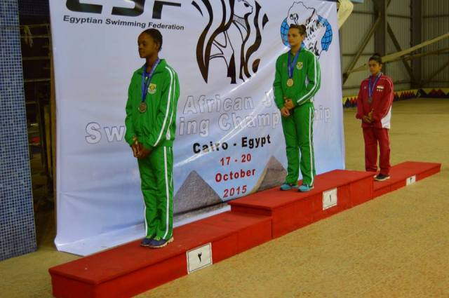 100m back podium photo