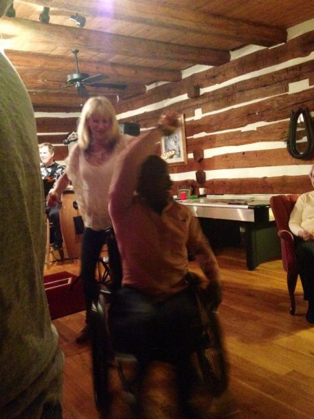 Sharing a dance with my good friend Joanne G. at a spring 2014 party at the Make-a-Difference Ranch in Newport, VA!