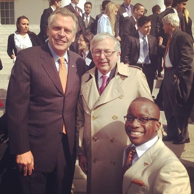 Virginia Governor Terry McAuliffe and Virginia Tech's 15th President Charles W. Steger were kind enough to take a photo with me at the 2014 Hokie Day on Capitol Hill in Richmond, VA.